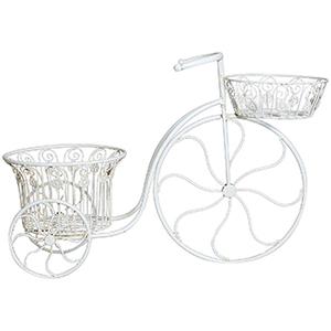 Bicicletta portafiori-ferro battuto finitura bianca anticata 72x28x48