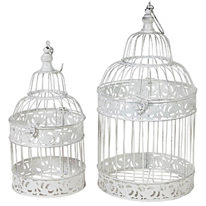 Set of two white iron cages - 25x25x48 + 19x19x40