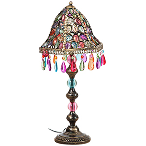 Table lamp in metal and colored gems 28x28x50 cm