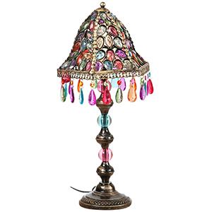 Lampada da appoggio in metallo e gemme colorate 28x28x50 cm