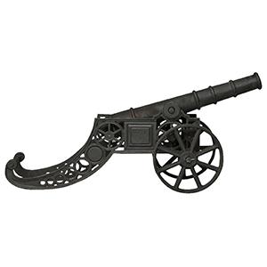 Cannone ornamentale-fusione di ghisa 150x39x65 finitura nera anticata