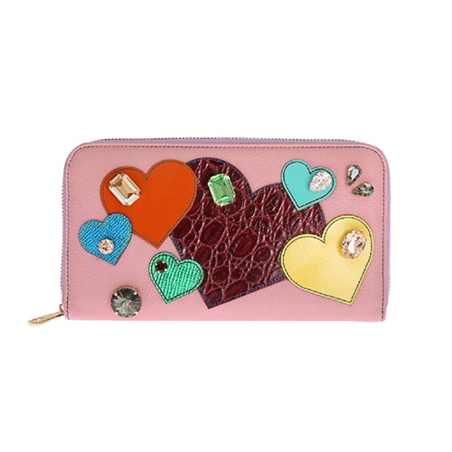 Dolce & Gabbana Pink Leather Continental Clutch Wallet