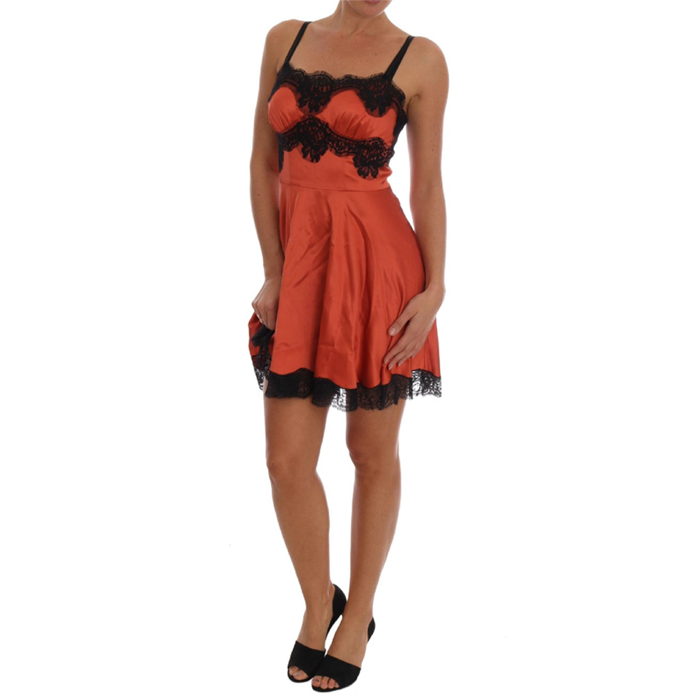 Dolce & Gabbana Orange Silk Stretch Black Lace Lingerie Dress