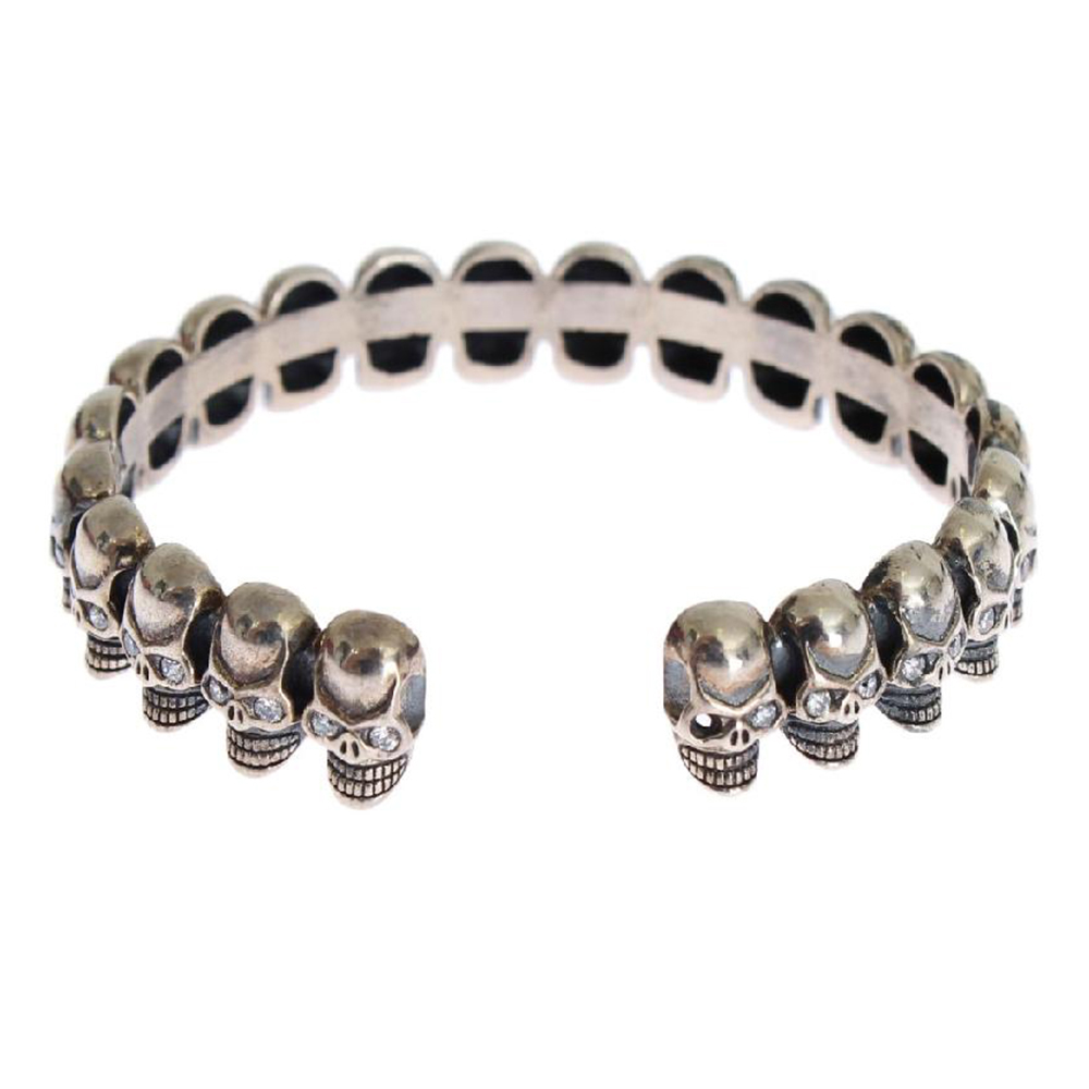 Nialaya Silver 925 Skull Crystal Bangle Bracelet